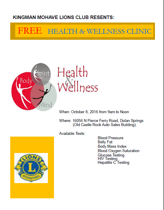 October 8 - Health and Wellness Clinic - Dolan Springs